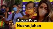 Watch: TMC MP Nusrat Jahan celebrates Durga Pujo, dances to dhak beats