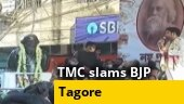 Kolkata: TMC stages protest against BJP for placing Amit Shah's photo above Tagore