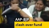 Watch: AAP-BJP councillors clash, hurl shoes, sandals at each other