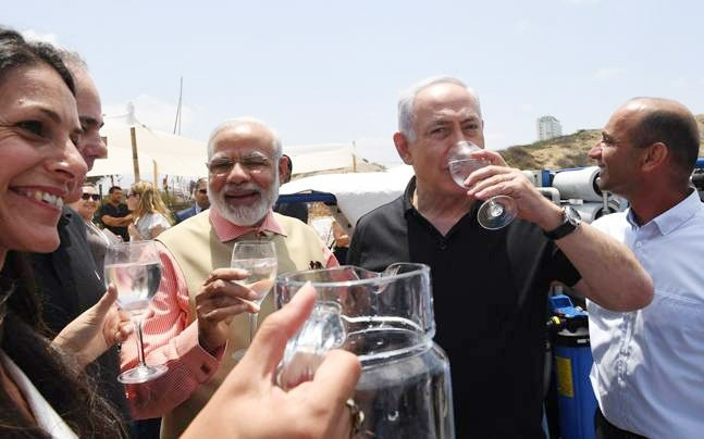 Indian PM Modi with Isreal's PM Benjamin Netanyahu