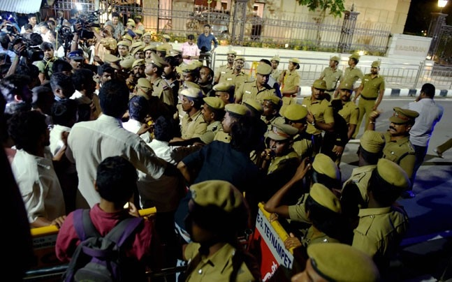 Heavy police deployment was seen outside late J Jayalalithaa's Poes Garden residence where I-T officials carried out a raid late Friday night (PTI photo)