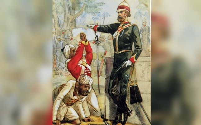 The Massacre at Cawnpore, a British officer refusing the supplications of grovelling mutineers. Courtesy of the Anne SK Brown Military Collection, Brown University Library