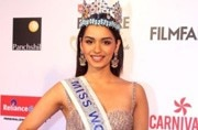 Miss World Manushi Chhillar carries out a road show in Delhi