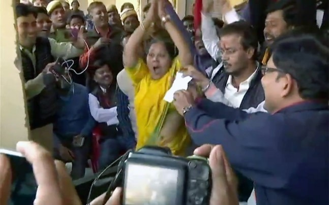 BJP candidate Meera Agarwal cannot control her excitement winning ward number 56 in Mathura. Photo: ANI