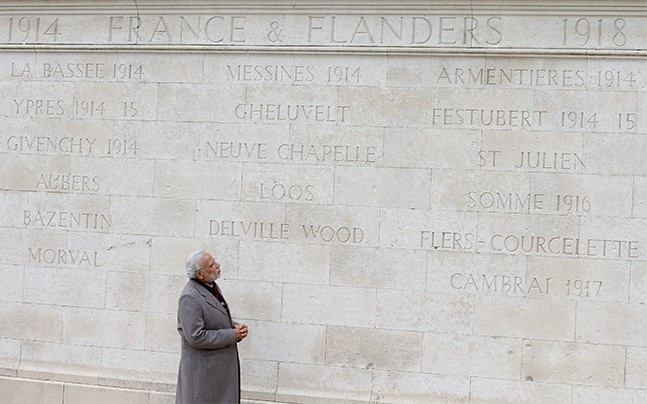 PM Narendra Modi at the Indian World War memorial in Neuve Chapelle, France. Photo: Reuters
