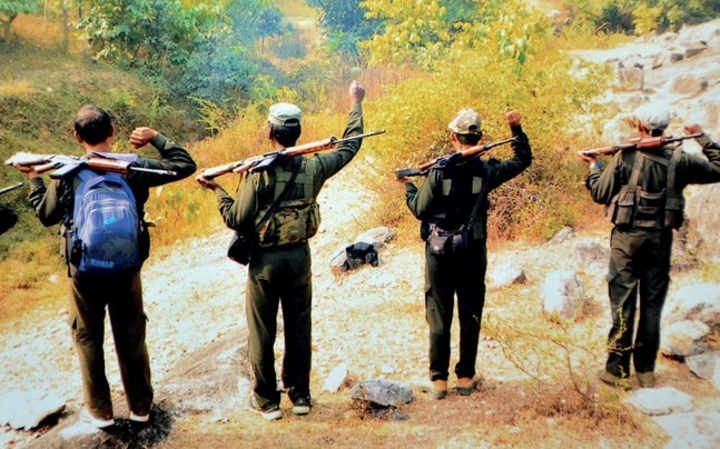 Maoist footsoldiers at a training camp in the Latehar jungles of Jharkhand. Photo: Somnath Sen