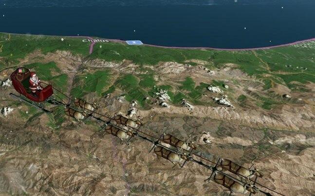 Screenshot from NORAD's Santa tracker