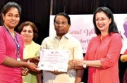 Gautami Tadimalla, actor (second from right) and G Viswanathan, Chancellor, VIT University (third from right) giving awards
