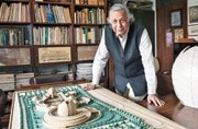 Raj Rewal with the model of Jang-E-Azadi memorial complex in Kartarpur, Punjab. Picture courtesy: Vikram Sharma