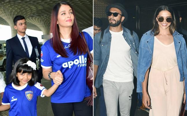 If Aishwarya Rai Bachchan and her daughter Aaradhya were wearing matching jerseys, Ranveer Singh and Deepika Padukone were also twinning at the airport.