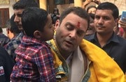 When a kid came running to Rahul Gandhi at a Gujarat temple where crowd shouted Modi-Modi