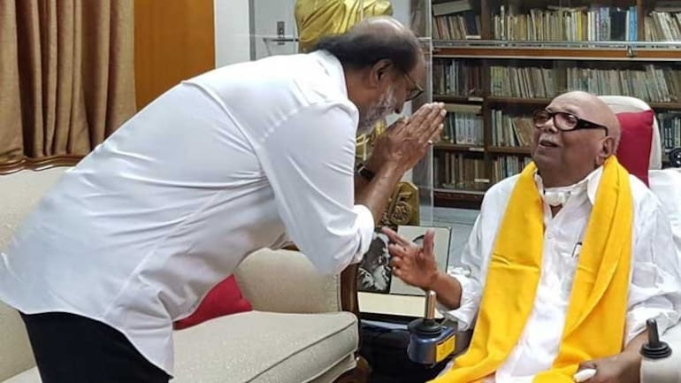 Rajinikanth with DMK chief Karunanidhi