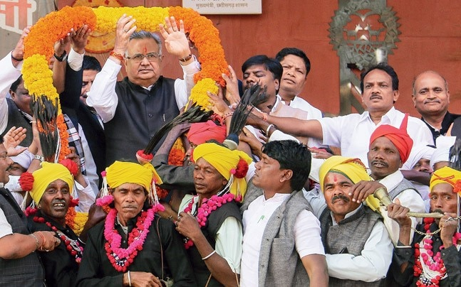 CM Raman Singh at the Adivasi Mahotsav in Raipur. Photo: Bhupesh Kesharwani