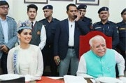 CM Khattar, with Manushi Chhillar, announces free sanitary napkins in schools