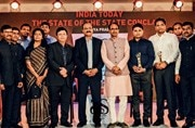 Madhya Pradesh Chief Minister Shivraj Singh Chouhan and India Today Group Editorial Director Raj Chengappa (centre) with the State of the State award winners in Bhopal