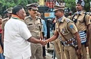 V. Narayanasamy at the launch of an automated police surveillance system in Karaikal. Photo: Jaison G