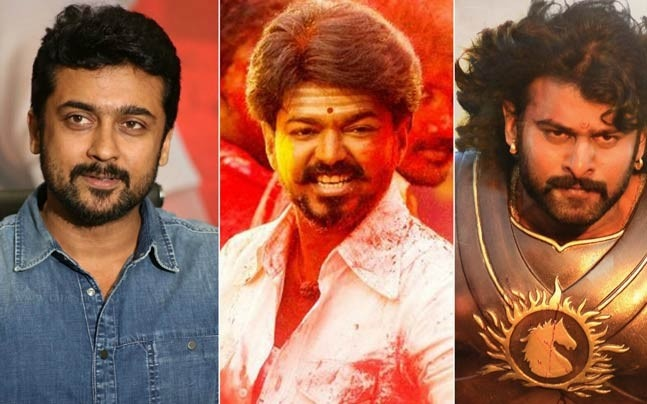 (L-R) Suriya, Vijay in Mersal and Prabhas in Baahubali 2