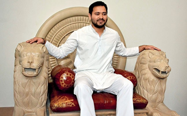 SITTING PRETTY Tejashwi during a visit to the Bihar Museum in Patna. Photo: Aftab Alam Siddiqui