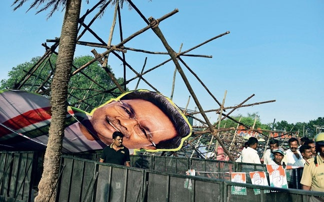 A cutout of Siddaramaiah at a Bengaluru rally addressed by Congress president Rahul Gandhi (Photo: PTI)