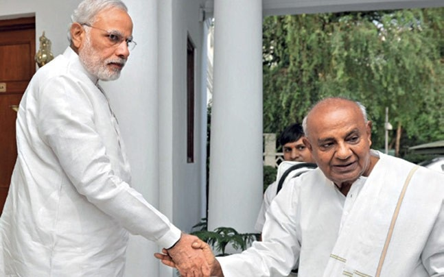 LET'S SHAKE ON IT? File picture of Deve Gowda meeting PM Modi in Delhi