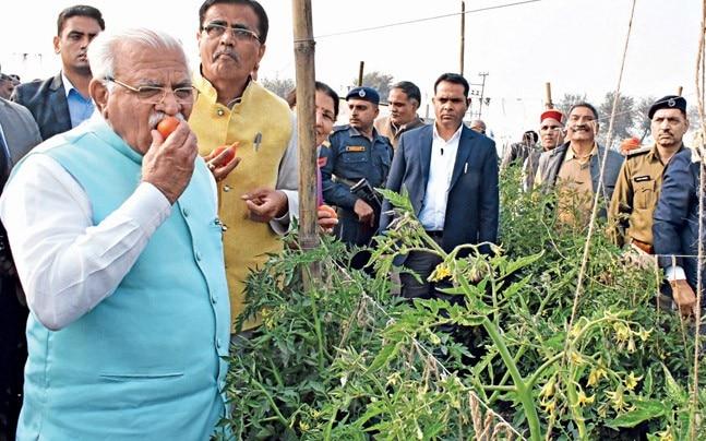 CM Manohar Khattar at the 'Bhavantar Bharpayee Yojana' launch in Karnal.