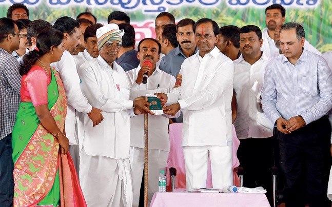 CM Chandrashekar Rao at the launch of the Rythu Bandhu scheme on May 10 at Chelpur