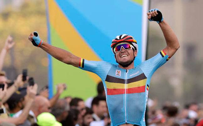 Greg Van Avermaet of Belgium celebrates after crossing the finish line to win the men's cycling road race final at the 2016 Summer Olympics. (Reuters Photo)