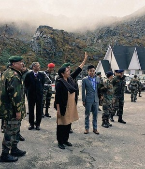 Nirmala Sitharaman earlier shared this photo showing her waving at a group of Chinese soldies who she said were taking her photograph from across the border (PTI photo)
