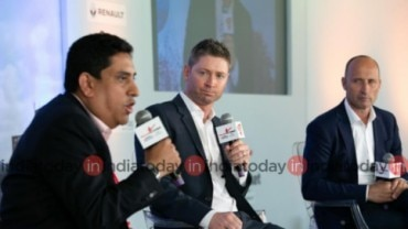 India Today's consulting editor for sports', Boria Majumdar speaks in the presence of Michael Clarke and Nasser Hussain in Salaam Cricket 2019