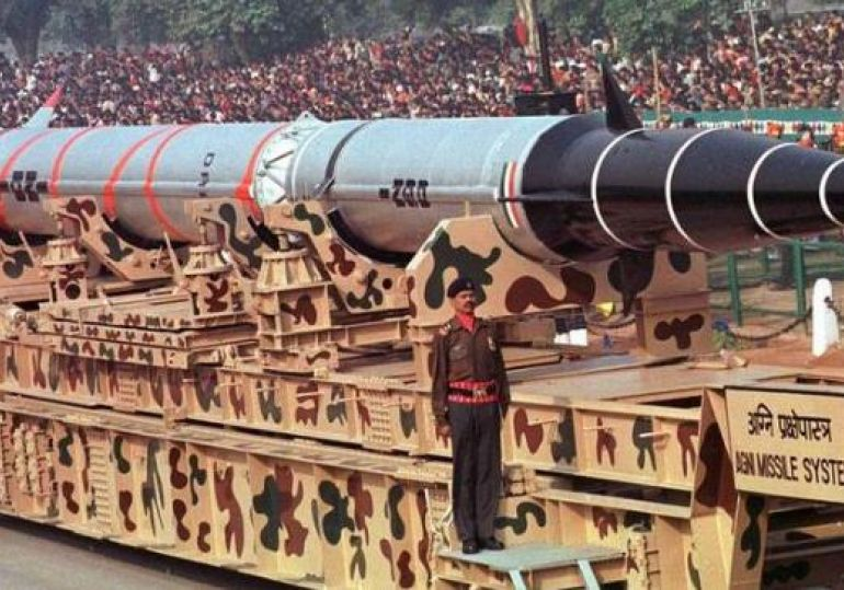 Agni I missile on display at the Republic Day parade.