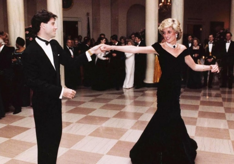 Princess Diana in a black velvet gown at the White House.