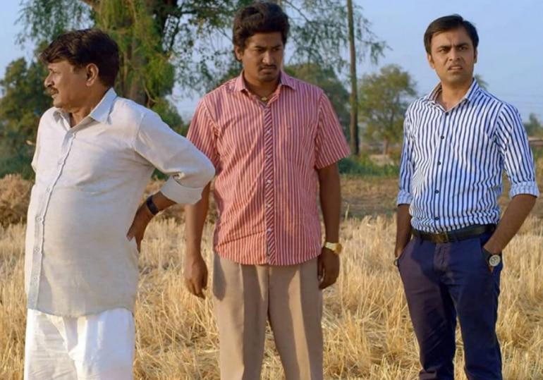 Raghuvir Yadav, Chandan Roy and Jitendra Kumar in a still from Panchayat.