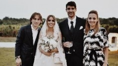 Luka Modric (extreme left) and Ivan Perisic (not in picture) attended Vedran Corluka's wedding (second from right) in Istria on Saturday (Luka Modric Instagram Photo)