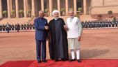 President Ram Nath Kovind, Iranian President Hassan Rouhani and Prime Minister Narendra Modi. Photo: RaveeshKumar/Twitter