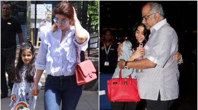 Twinkle Khanna with daughter Nitara (L) and Boney Kapoor with daughter Janhvi Kapoor