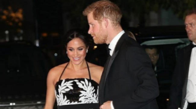 Pregnant Meghan Markle and Prince Harry on an evening out