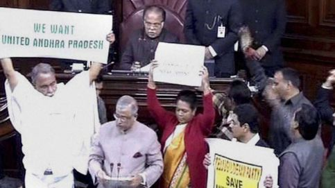 Protests in Rajya Sabha over division of Andhra Pradesh, on February 20.