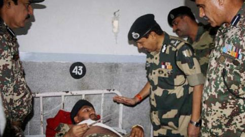 D.K.Pathak visits a BSF man Injured in the firing