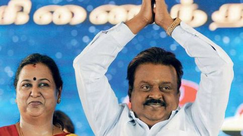 DMDK party leader Vijayakanth with wife Premalatha at the party's women's wing meeting in Chennai