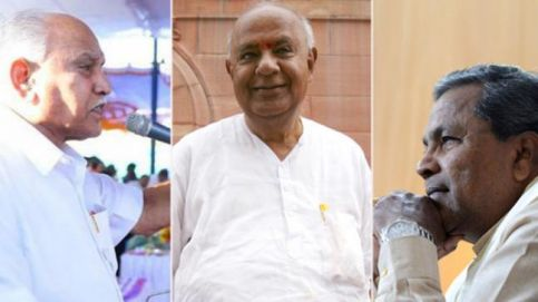 From left: Karnataka BJP chief BS Yeddyurappa, former Prime Minister HD Deve Gowda, and Karnataka Chief Minister Siddaramaiah