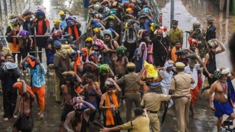 In spite of hartal, thousands of pilgrims offered prayers at the Sabarimala temple on Saturday. (Photo: PTI)