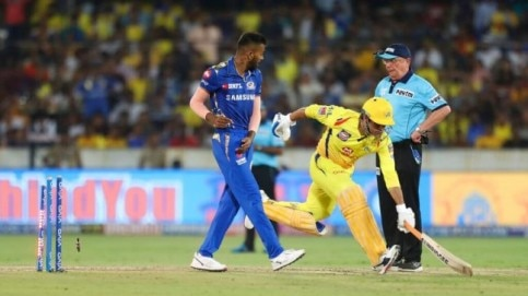 MS Dhoni was run out in the 13th over when Chennai Super Kings were cruising in their run chase of 150 (AP Photo)