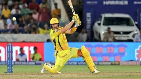IPL 2019 Final: Shane Watson braved a knee injury and hit 80 from 59 balls for Chennai Super Kings against Mumbai Indians on Sunday (@ChennaiIPL Photo)