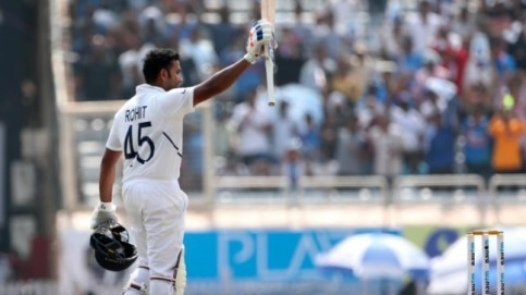 Rohit soaks in the applause after crossing 200 in Ranchi