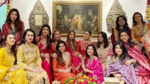 Shilpa Shetty and Raveena Tandon among others at Sunita Kapoor's Karwa Chauth celebration.