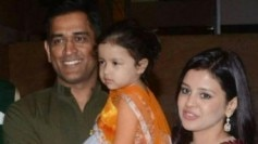 MS Dhoni with wife Sakshi and daughter Ziva at Poorna Patel's sangeet ceremony (Picture posted by @MSDArmy)