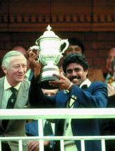 Kapil Dev lifts aloft the World Cup in Lords