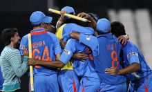 Indian cricket team celebrate their victory against South Africa