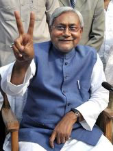 Bihar chief minister Nitish Kumar celebrates his poll victory.