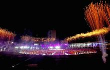 Fireworks explode at the opening ceremony